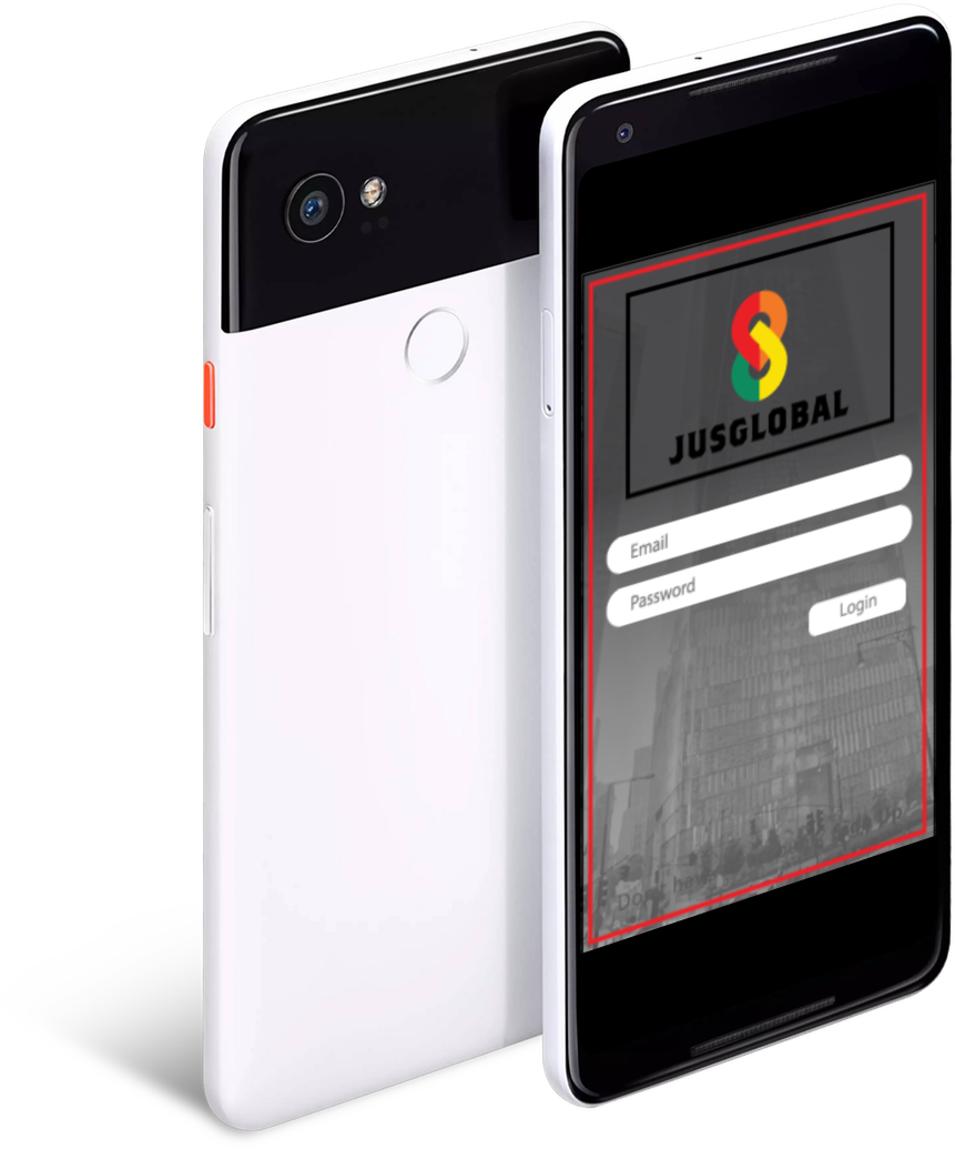 Two Smart Phones with JusGlobal App Interface